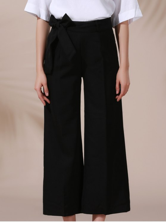 lady Solid Color Belted High Waist Wide Leg Pant - BLACK S