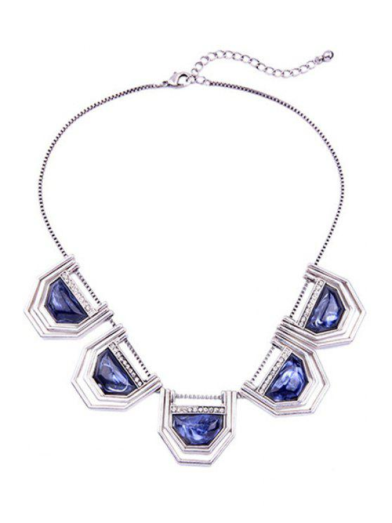 shops Faux Sapphire Geometry Necklace - SILVER