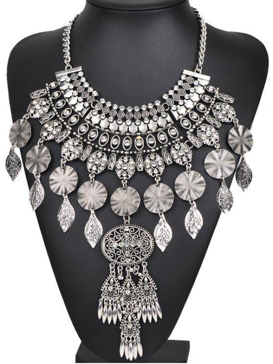 fashion Rhinestone Long Ethnic Pendant Necklace - SILVER