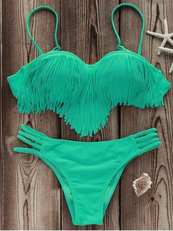 women Tassels Spliced Spaghetti Straps Solid Color Bikini Set - LIGHT GREEN L