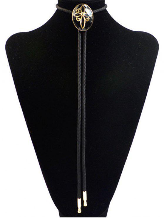 online Retro Flower Design Bolo Tie Necklace - BLACK