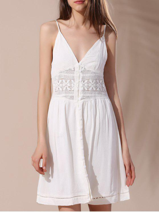 shop Crochet Insert Button Decorated Cami Dress - OFF-WHITE S