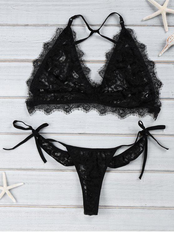 Negro de encaje Cami Set Bikini - Negro L