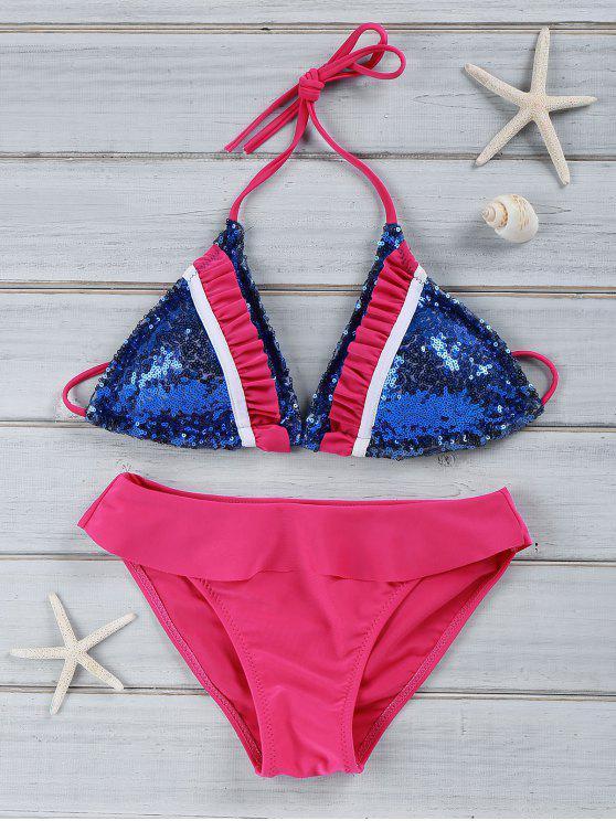 Ruffles épissage bretelles spaghetti Bikini - Bleu M