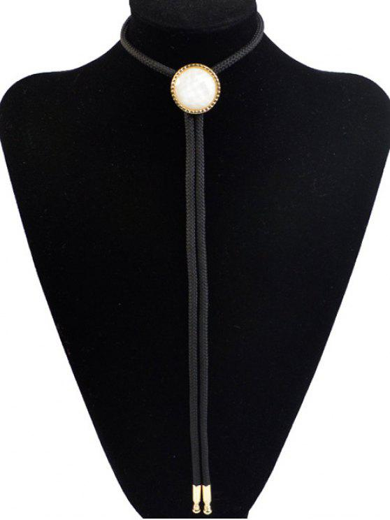 new Round Resin Inlay Bolo Tie Necklace - BLACK