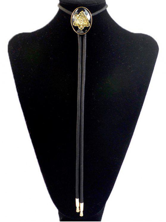 hot Snowflake Shape Inlay Bolo Tie Necklace - BLACK