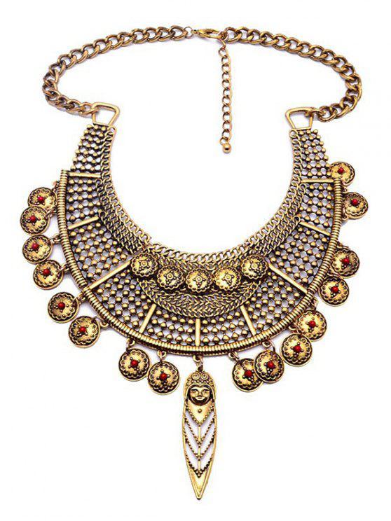 women Portrait Round Ethnic Pendant Necklace - GOLDEN