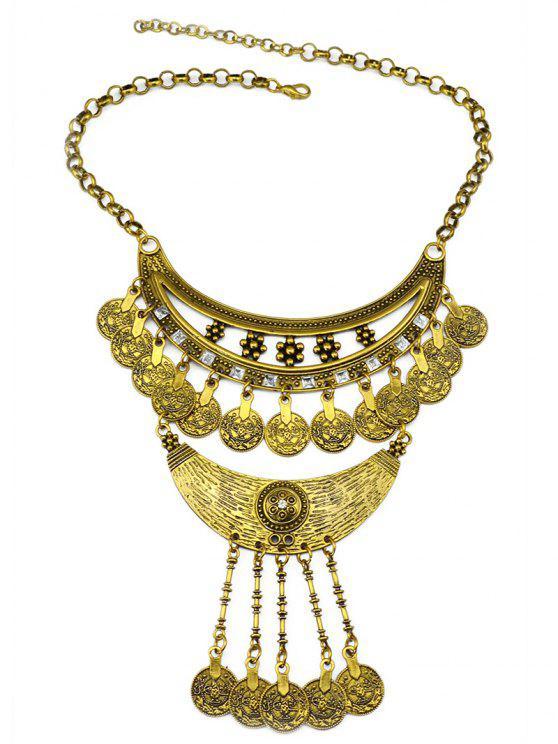 online Round Pendant Ethnic Necklace - GOLDEN