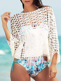 Dolman Sleeve Openwork Cover Ups Bathing Suit - White