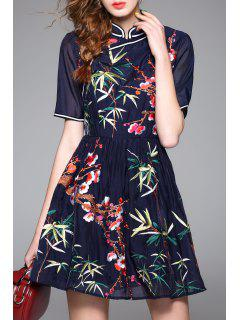 Embroidered Mandarin Dress - Purplish Blue S