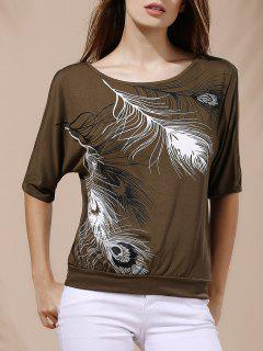 Stylish Scoop Neck Short Sleeves Cold Shoulder Printed T-Shirt For Women - Army Green S