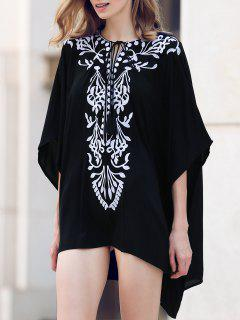 Plunging Neck Embroidery Half Sleeve Cover Up - Black L