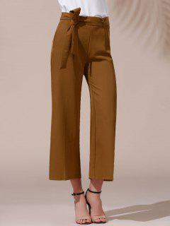 Solid Color Belted High Waist Wide Leg Pant - Dark Khaki L