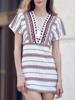 Ethnic Embroidery Plunging Neck Short Sleeve Dress - White L