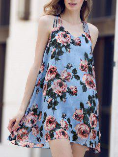 Rose Print Chiffon Sundress - Light Blue L