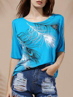 Stylish Scoop Neck Short Sleeves Cold Shoulder Printed T-Shirt For Women - Blue M