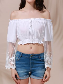 White Lace Spliced Flare Sleeve Off The Shoulder Crop Top Belly Shirts - White S