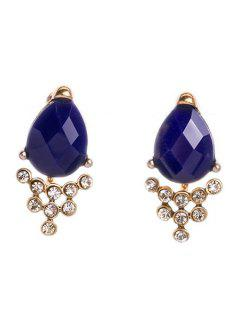 Faux Sapphire Rhinestone Earrings - Deep Blue
