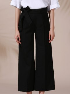 Solid Color Belted High Waist Wide Leg Pant - Black Xl