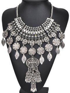 Rhinestone Long Ethnic Pendant Necklace - Silver