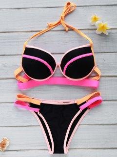 Color Block Underwire Halter Bikini Set - Black L