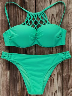 Solid Color High Neck Underwire Bikini Set - Light Green L