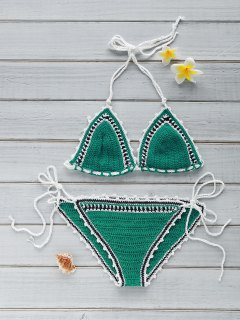 Stylish Crocheted String Bikini Set - Mint Green