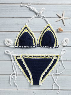 Trendy Crocheted String Bikini Set - Purplish Blue