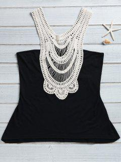 Lace Patchwoork Tank Top - Black S