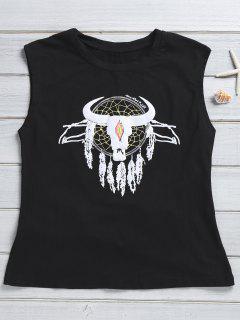 Sans Manches T-shirt Imprimé Jewel Neck - Noir 2xl