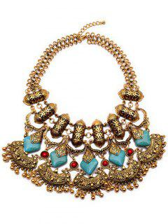 Bead Turquoise Ethnic Pendant Necklace - Golden