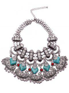 Bead Turquoise Ethnic Pendant Necklace - Silver