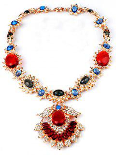 Flower Jewelry Necklace - Red