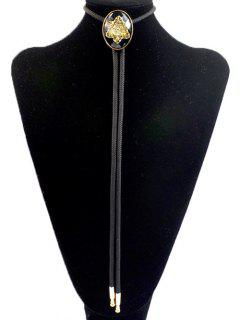 Snowflake Shape Inlay Bolo Tie Necklace - Black