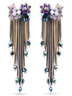 Flower Alloy Tassels Earrings - Black