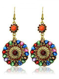 Colorful Rhinestone Round Pendant Earrings - Golden