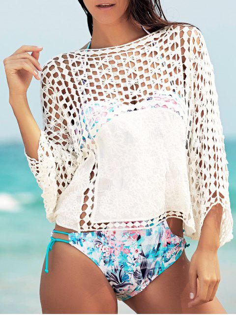 hot Dolman Sleeve Openwork Cover Ups Bathing Suit - WHITE ONE SIZE(FIT SIZE XS TO M) Mobile
