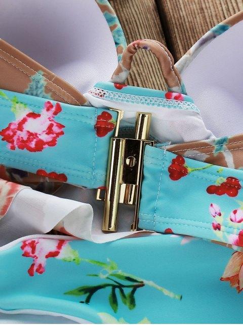 shop Push Up Floral Print Bikini Set - COLORMIX L Mobile