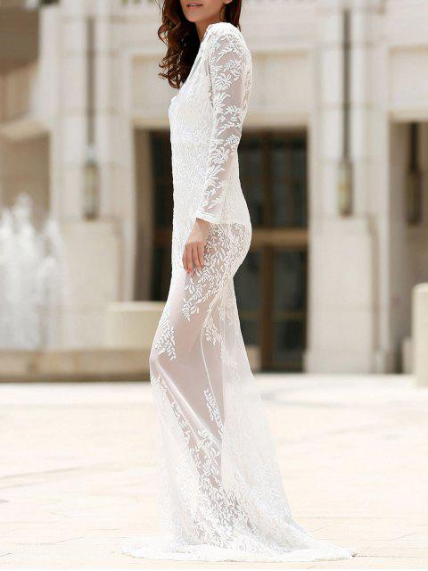 sale Maxi Sheer Lace Prom Dress - WHITE L Mobile