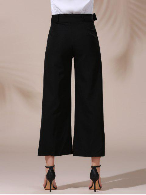 online Solid Color Belted High Waist Wide Leg Pant - BLACK L Mobile
