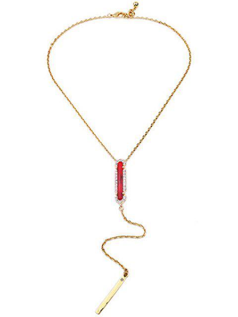 shop Faux Ruby Bar Necklace - GOLDEN  Mobile