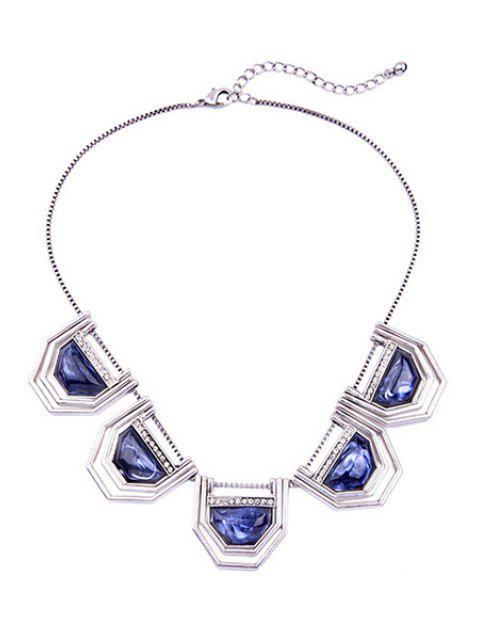 shops Faux Sapphire Geometry Necklace - SILVER  Mobile