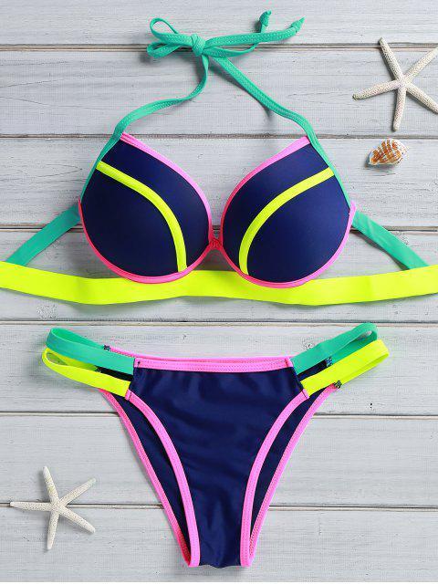 fashion Color Block Underwire Halter Bikini Set - BLUE M Mobile