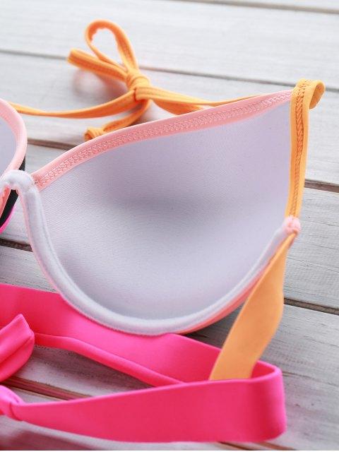 shops Color Block Underwire Halter Bikini Set - BLACK M Mobile