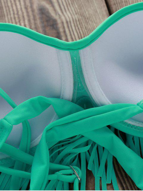 women Tassels Spliced Spaghetti Straps Solid Color Bikini Set - LIGHT GREEN L Mobile