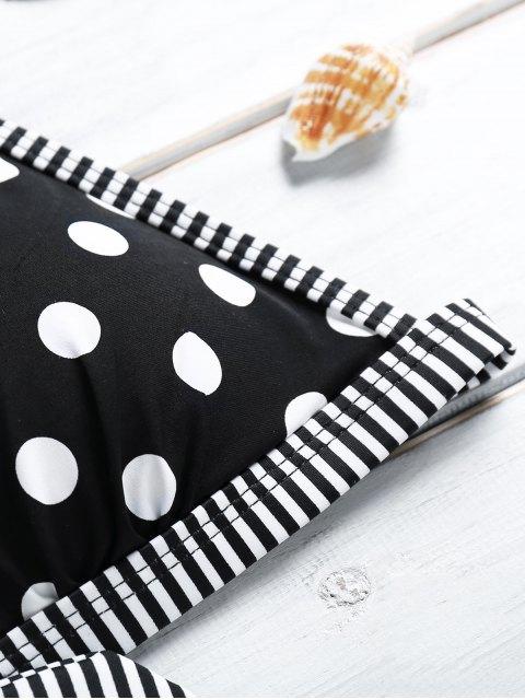 chic Polka Dot Stripe Spliced Halter Bikini Set - BLACK M Mobile