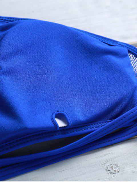new Voile Spliced See-Through High Neck Bikini Set - SAPPHIRE BLUE M Mobile