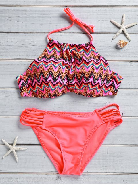 outfits Zig Zag High Neck Bikini Set - WATERMELON RED S Mobile