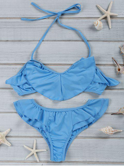 trendy Halter Ruffles Bikini Set - BLUE XL Mobile