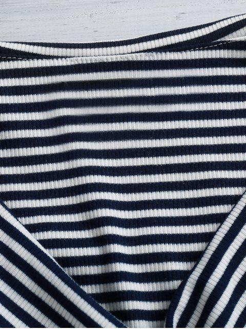 latest Striped Cross-Front Crop Top - BLUE AND WHITE S Mobile